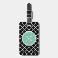 Black Quatrefoil Pattern, Mint Green Monogram Bag Tag