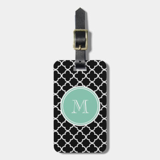 Black Quatrefoil Pattern, Mint Green Monogram Bag Tag