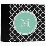 Black Quatrefoil Pattern, Mint Green Monogram Vinyl Binders