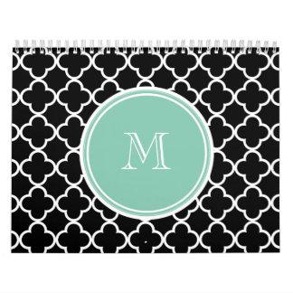 Black Quatrefoil Pattern, Mint Green Monogram Calendar