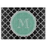 Black Quatrefoil Pattern, Mint Green Monogram Cutting Boards