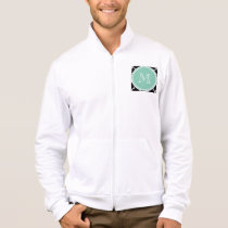 Black Quatrefoil Pattern, Mint Green Monogram Jacket