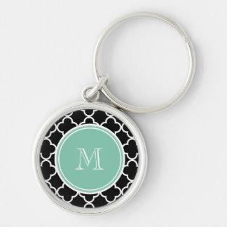 Black Quatrefoil Pattern, Mint Green Monogram Key Chain