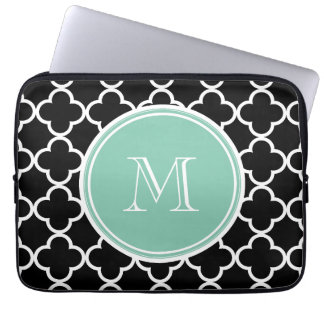 Black Quatrefoil Pattern, Mint Green Monogram Computer Sleeves