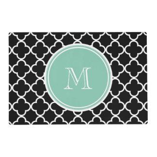 Black Quatrefoil Pattern, Mint Green Monogram Laminated Place Mat