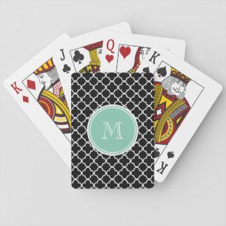 Black Quatrefoil Pattern, Mint Green Monogram Deck Of Cards