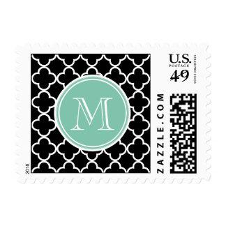 Black Quatrefoil Pattern, Mint Green Monogram Postage