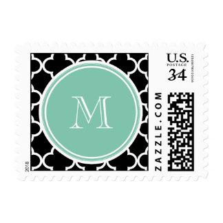 Black Quatrefoil Pattern, Mint Green Monogram Postage Stamps