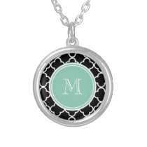 Black Quatrefoil Pattern, Mint Green Monogram Silver Plated Necklace