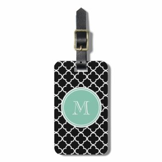 Black Quatrefoil Pattern, Mint Green Monogram Tag For Bags