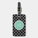 Black Quatrefoil Pattern, Mint Green Monogram Tag For Luggage