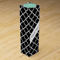 Black Quatrefoil Pattern, Mint Green Monogram Wine Box