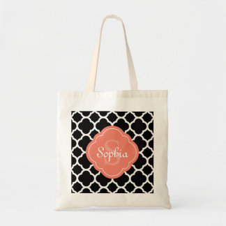 Black Quatrefoil Pattern Peach Monogram Tote Bag