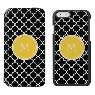 Black Quatrefoil Pattern, Yellow Monogram iPhone 6/6s Wallet Case