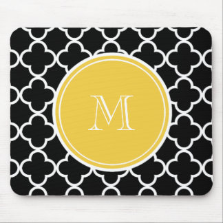Black Quatrefoil Pattern, Yellow Monogram Mouse Pad