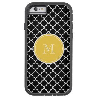 Black Quatrefoil Pattern, Yellow Monogram Tough Xtreme iPhone 6 Case