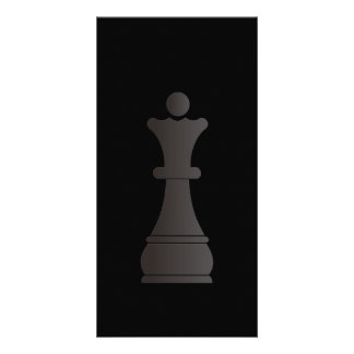 Black queen chess piece card
