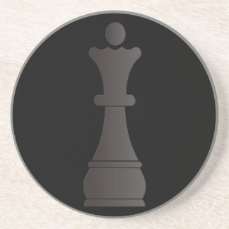 Black queen chess piece coaster