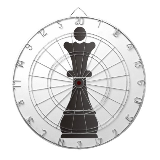 Black queen chess piece dartboard with darts