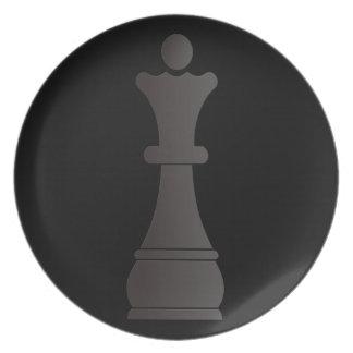 Black queen chess piece dinner plate