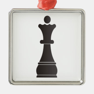 Black queen chess piece metal ornament