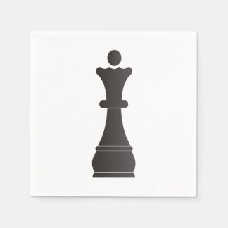 Black queen chess piece paper napkin