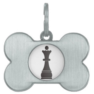 Black queen chess piece pet ID tag