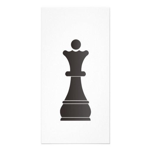 Black queen chess piece custom photo card