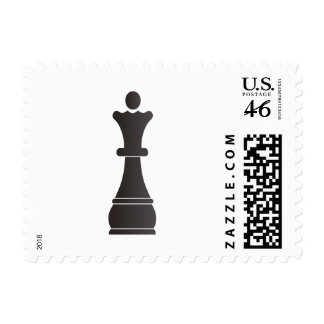 Black queen chess piece postage stamps