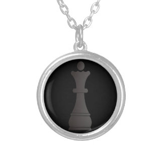 Black queen chess piece silver plated necklace