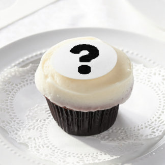 Black Question Mark Edible Frosting Rounds