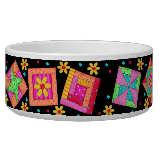 Black Quilt Block Dog Food Bowl