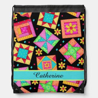 Black Quilt Patchwork Block Art Name or Monogram Drawstring Backpack