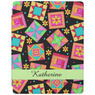 Black Quilt Patchwork Block Name Personalized iPad Cover