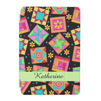 Black Quilt Patchwork Block Name Personalized iPad Mini Cover