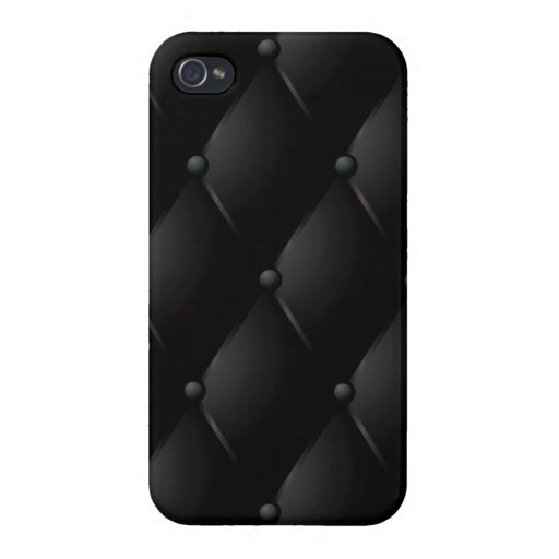 """Black Quilted Faux """"Leather"""" iPhone 4/4S Case"""