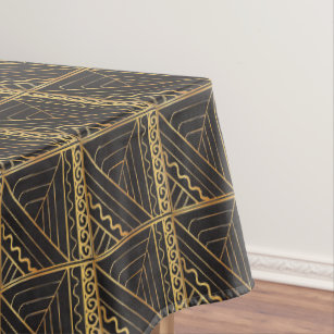 Black Quilted Stair Step Gold ZigZag Abstract Tablecloth