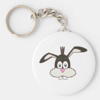 Black Rabbit head Basic Round Button Keychain