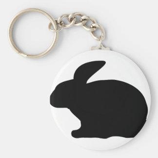 black rabbit icon basic round button keychain