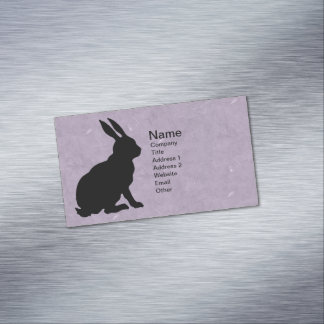 Black Rabbit Silhouette Easter Bunny Business Card Magnet