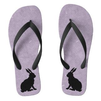 Black Rabbit Silhouette Easter Bunny Flip Flops