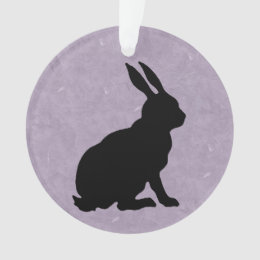 Black Rabbit Silhouette Easter Bunny Ornament
