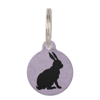 Black Rabbit Silhouette Easter Bunny Pet ID Tag