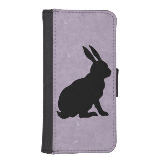 Black Rabbit Silhouette Easter Bunny Phone Wallet Case