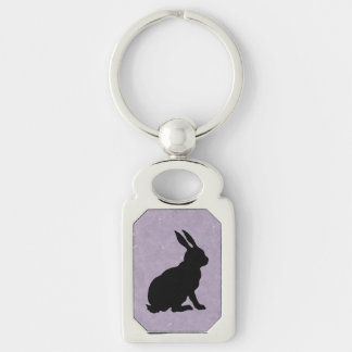 Black Rabbit Silhouette Easter Bunny Silver-Colored Rectangular Metal Keychain