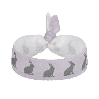 Black Rabbit Silhouette Easter Bunny Ribbon Hair Tie