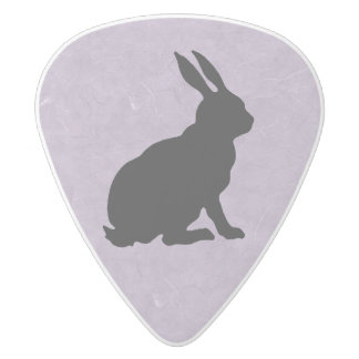 Black Rabbit Silhouette Easter Bunny White Delrin Guitar Pick