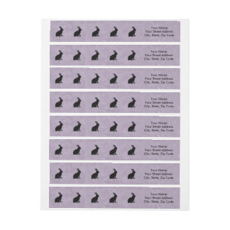 Black Rabbit Silhouette Easter Bunny Wrap Around Label