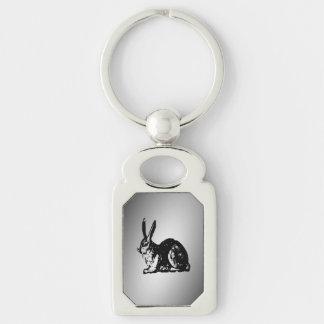 Black Rabbit Silver-Colored Rectangular Metal Keychain