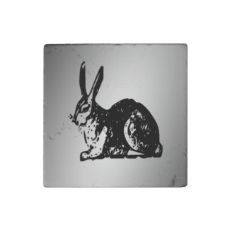 Black Rabbit Stone Magnet